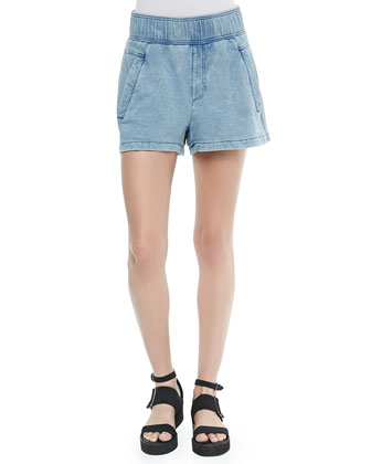 Wide-Leg Denim Shorts