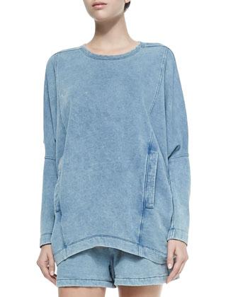 Denim Dropped-Sleeve Sweatshirt w/ Pockets
