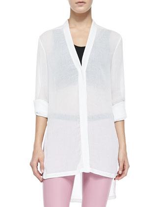Swift Tab-Sleeve Tunic Top, Asymmetric Jersey Bra Top & Stretch Plonge ...