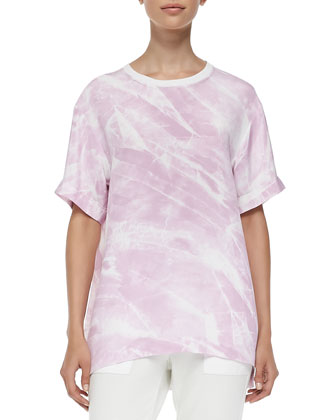 Terrene Short-Sleeve Marble-Print Top