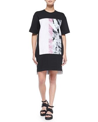 Mason Marble-Print Sweatshirt Dress, Black