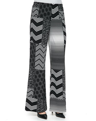 Patchwork-Print Wide-Leg Pants, Women's