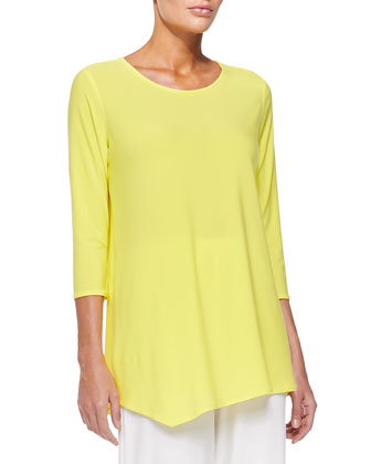 3/4-Sleeve Asymmetric Top