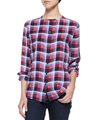 Collarless Plaid Button-Down Shirt