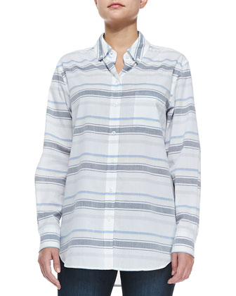 Long-Sleeve Striped Button-Down Shirt