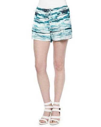 Printed Drawstring Silk Summer Shorts