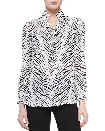 Lace-Up Blouse W/ Zebra Print