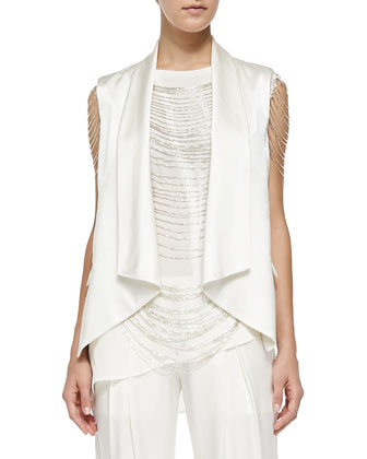 Draped Open-Front Vest, Asymmetric Georgette/Slub Sleeveless Top, Beaded ...