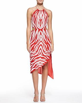 Embellished Cutout Halter Dress