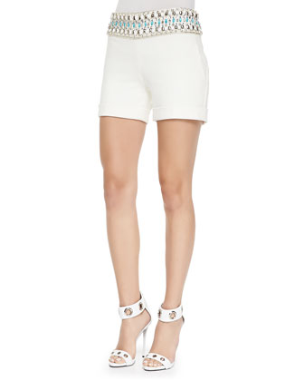 Bead-Waist Tailored Twill Shorts