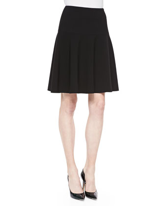 Keana Yoke-Waist Flutter Skirt, Black