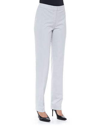 Crosby Straight-Leg Wool Pants, Sterling
