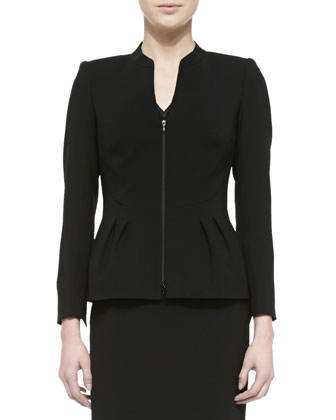Ashytyn Zip-Front Jacket W/ Bell Hem