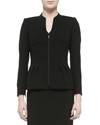 Jillessa Dress W/ Semisheer Detail & Ashytyn Zip-Front Jacket W/ Bell Hem ...