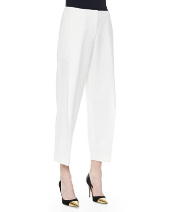 Asymmetric Pleated Ankle Pants