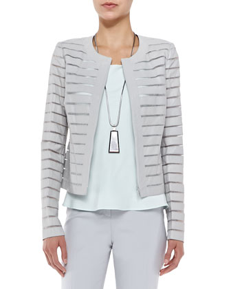 Catrice Zip-Front Striated Leather Jacket