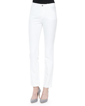 Long-Sleeve Jersey Tee W/ Grosgrain Trim & Curvy Slim-Leg Denim Jeans