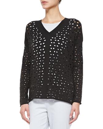 V-Neck Eyelet Sweater, Matte Crepe Shell & Stanton Cropped Wool Pants