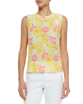 Reagan Sleeveless Citrus-Print Top
