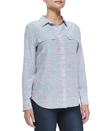 Long-Sleeve Snake-Print Blouse