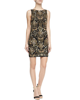 Demie Beaded Scoop-Back Dress