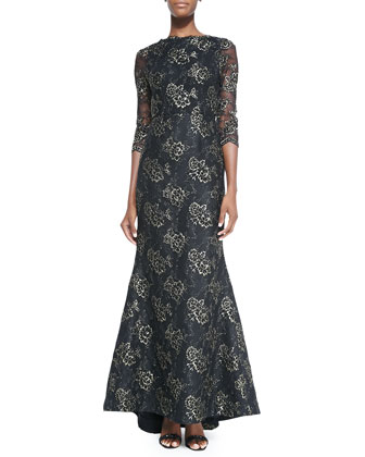 Corina Lace Open-Back Gown
