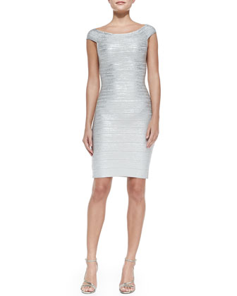 Off-the-Shoulder Metallic Sheath Dress, Silver