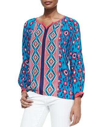 Helen Ikat-Print Silk Tunic