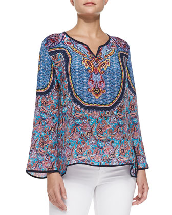Salina Silk Printed Tunic, Navy, Women's