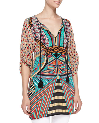 Mila Silk Printed Long Tunic, Women's