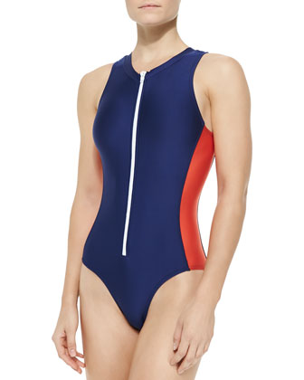 Soft Cup One-Piece Swimsuit, Navy