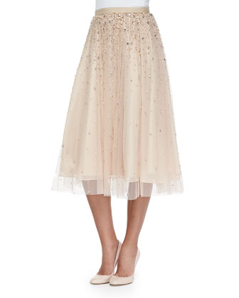 Rina Bead-Embellished Tulle Skirt