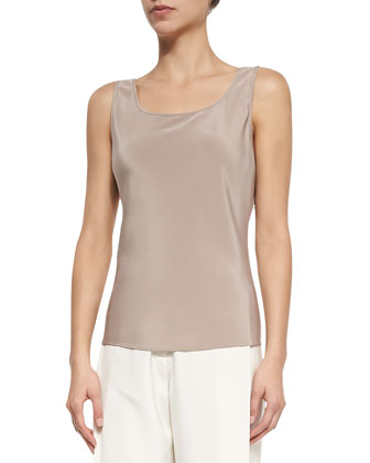 Sleeveless Silk Bias Tank, Hickory