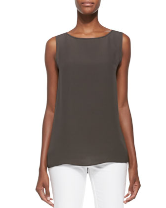 Josa Boat-Neck Sleeveless Silk Blouse