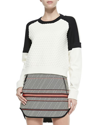 Kelsie Textured Dropped-Sleeve Sweatshirt