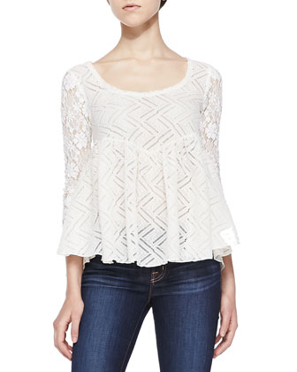 3/4-Sleeve Brushed Lace Flared Top