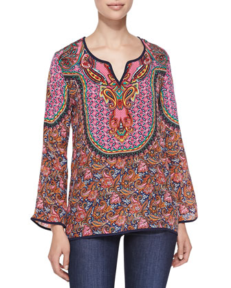 Salina Silk Printed Tunic, Orange, Women's
