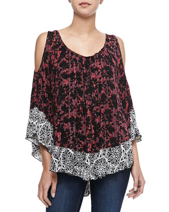 Cold-Shoulder Printed Blouse