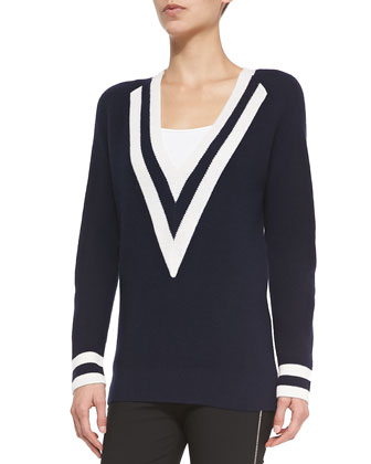 Talia V-Neck Colorblock Cashmere Sweater