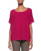 Short-Sleeve Combo-Knit Sweater
