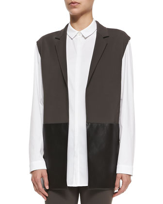 Faux-Leather Panel Vest, Sabira Cotton-Stretch Long-Sleeve Shirt & Punto ...