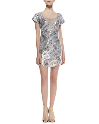 Shattered Glass Short-Sleeve Sequined Dress