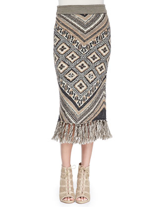 Magic Carpet-Print Slim Midi Skirt