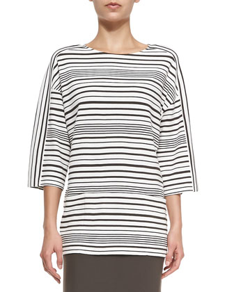 Oversized Striped Ponte Top