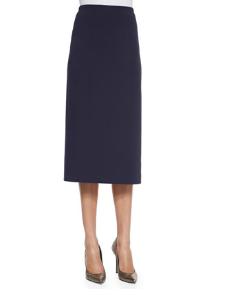 Long Punto Milano Pencil Skirt, Granite