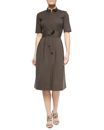 Rayanne Half-Sleeve Shirtdress W/ Tie Belt