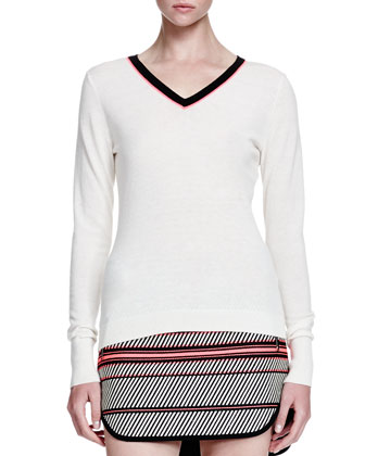 Vivian Contrast V-Neck Sweater