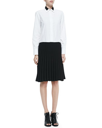 Courcheval Shirtdress W/ Pleated Contrast Skirt