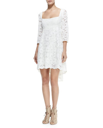 Trianon Lace Dress W/ High-Low Hem, Petite