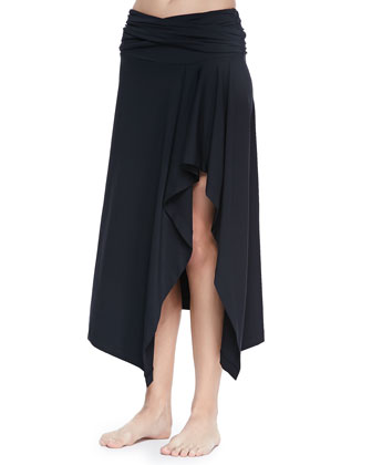 Draped Jersey Bandeau Bikini Two-Piece & Coverup Skirt